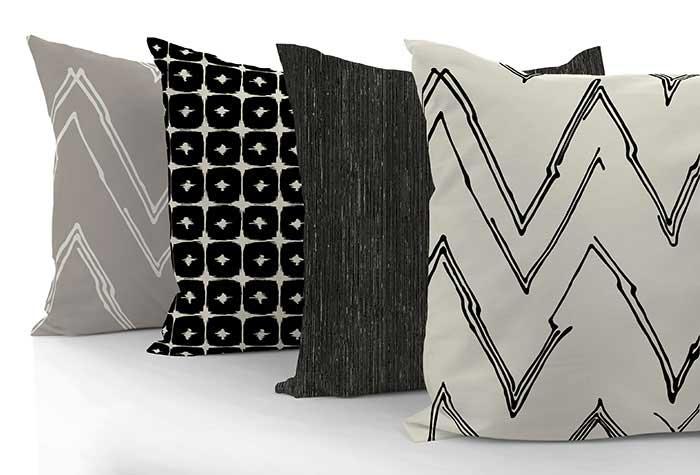 custom throw pillows in black and tan